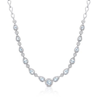 Dolce Giavonna Sterling Silver Blue Topaz Necklace