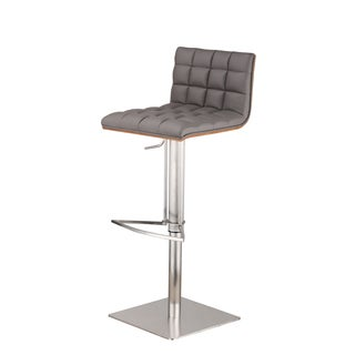 Armen Living Oslo Adjustable Brushed Stainless Steel Grey Barstool with Walnut Back