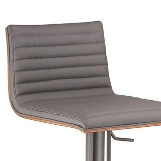 Armen Living Cafe Adjustable Grey Metal Barstool with Walnut Back