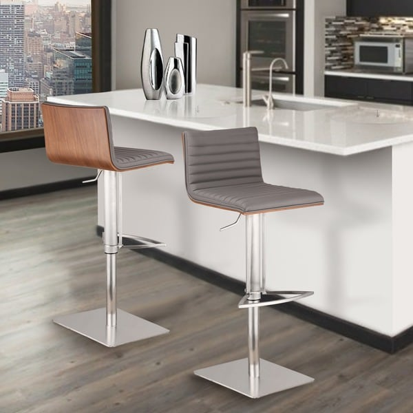 Armen Living Cafe Adjustable Brushed Stainless Steel Grey Barstool With  Walnut Back