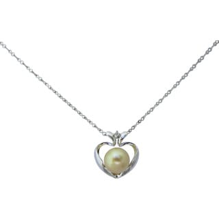 Golden South Sea 10mm Round Cultured Pearl Diamond Accent Heart Pendant