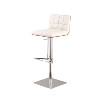 Armen Living Oslo Adjustable Brushed Stainless Steel White Barstool with Walnut Back