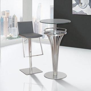 Armen Living Ibiza Adjustable Brushed Stainless Steel Grey Barstool
