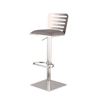 Armen Living Delmar Adjustable Brushed Stainless Steel Grey Barstool