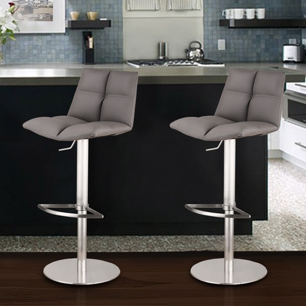 Armen Living Roma Adjustable Brushed Stainless Steel Grey Barstool