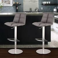 Armen Living Roma Adjustable Brushed Stainless Steel Grey Barstool
