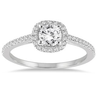 Marquee Jewels 14k White Gold 3/4 ct TDW Diamond Halo Engagement Ring