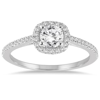 Marquee Jewels 14k White Gold 3/4 ct TDW Diamond Halo Engagement Ring (I-J, I1-I2)