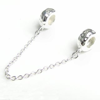 Queenberry Sterling Silver Rubber Stopper Safety Chain Hammered European Bead Charm