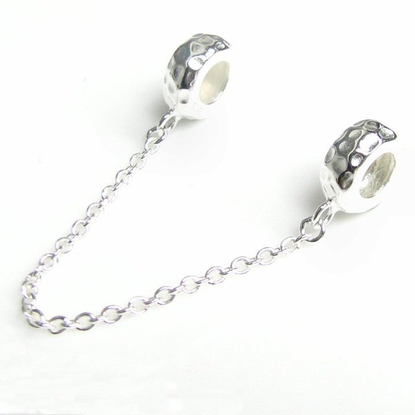Queenberry Sterling Silver Round Rubber Stopper European-style Bead Charm with Safety Chain w53anfD6