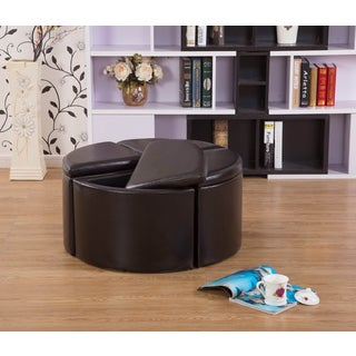 Lacresia 4-piece Brown Leather Storage Ottoman