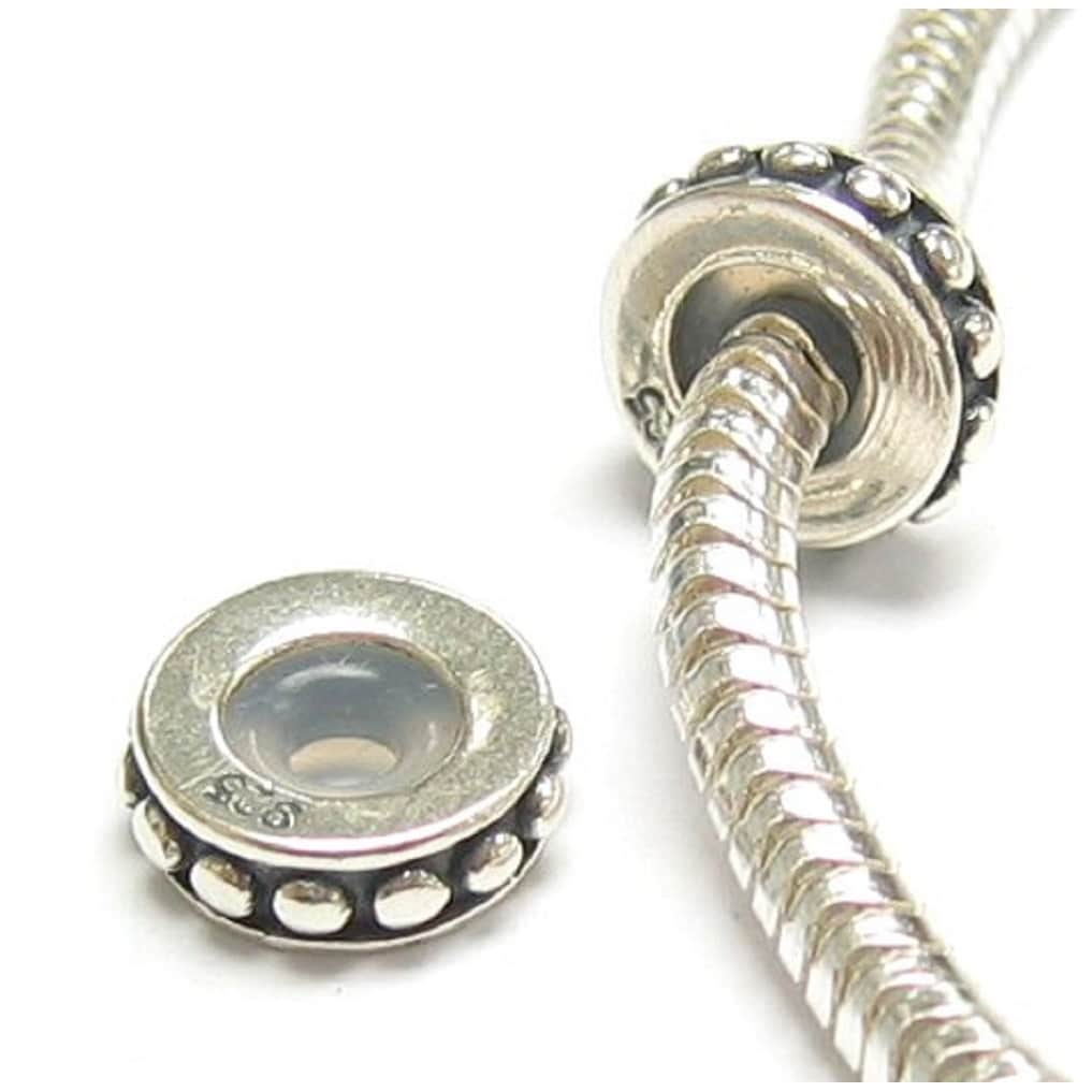 Queenberry Sterling Silver Stopper Safety Chain Bead for European Charm Bracelets