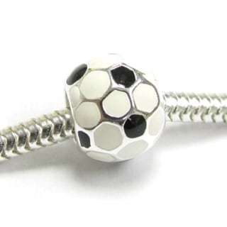 Queenberry Sterling Silver Sport Round Football Soccer European Bead Charm