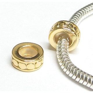 Queenberry Goldtone Sterling Silver Stopper Rubber Circle Dot Round European Bead Charm