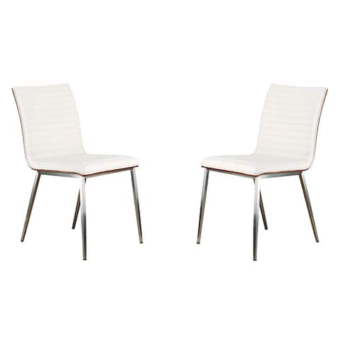 Armen Living Cafe Faux Leather Dining Chairs - Set of 2