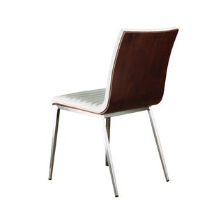 Armen Living Caf Brushed Stainless Steel Dining Chair with White PU Seat and Walnut Back (Set of 2)