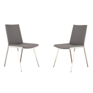 Ibiza Brushed Stainless Steel Grey Dining Chair (Set of 2)