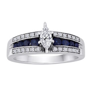 Platinaire 1/3ct TDW Diamond & Sapphire Accented Ring (H/I-I2)