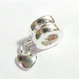 Queenberry Sterling Silver Sweet Heart Love Dangle European Bead Charm