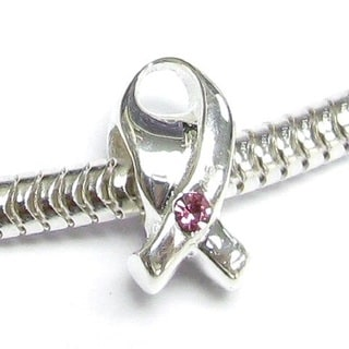 Queenberry Sterling Silver Breast Cancer Ribbon European Bead Charm