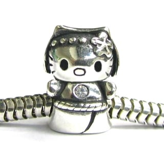 Queenberry Sterling Silver Kitty Cat with Clear CZ Crystal Pet Kitten Animal European Bead Charm