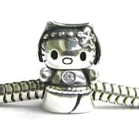 Queenberry Sterling Silver Kitty Cat with Clear CZ Crystal Animal European Bead Charm
