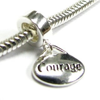 Queenberry Sterling Silver Oval Courage Dangle European Bead Charm