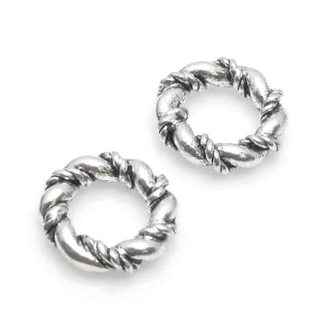 Set Of 4 pcs. Sterling Silver Thick Twisted Spacer Ring Space European Bead Charm
