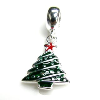 Queenberry Sterling Silver Green Christmas Tree Dangle Enamel Pendant Holiday European Bead Charm