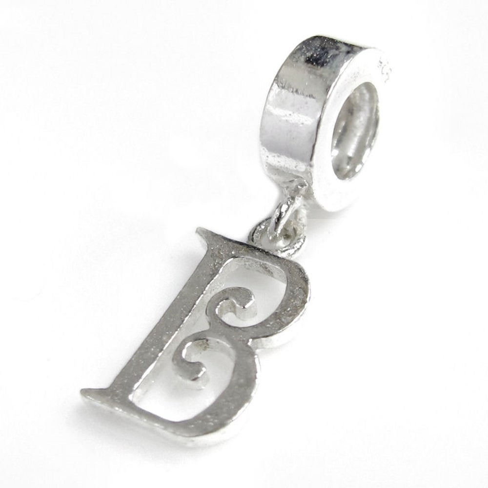 Queenberry Sterling Silver Initial Letter 'B' Dangle Euro...