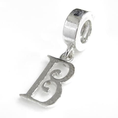 Sterling Silver Initial Letter Alphabet B Dangle European Bead Charm