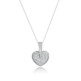 SummerRose, 14kt white gold Diamond heart pendant, 1.50cttw
