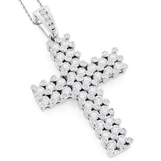 Luxurman 14K Unique Mens Diamond Cross Pendant 7.15ct (G-H, VS1-VS2)