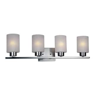 HomeSelects Dakota 4-light Brushed Nickel and Opal Glass Vanity Light