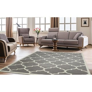 Ottomanson Paterson Collection Contemporary Moroccan Trellis Design Lattice Area Rug (8' x 10')