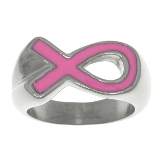 Carolina Glamour Collection Stainless Steel Cancer Awareness Pink Ribbon Ring