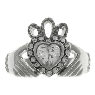 Stainless Steel Cubic Zirconia Claddagh Heart Crown Celtic Ring (3 options available)