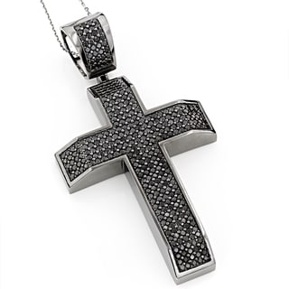Luxurman Heavy 14K Black on Black Diamond Cross Pendant 6.50ct