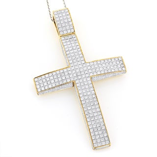 Luxurman 14k Yellow 11ct TDW Diamond Cross Pendant (G-H, VS1-VS2)