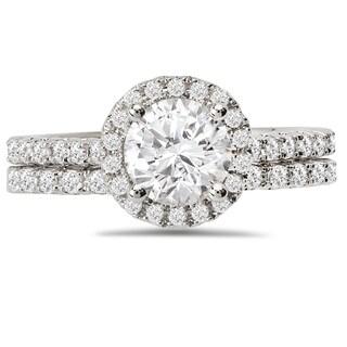 Avanti 14k White Gold 1 3/5ct TDW Diamond Round Halo Bridal Ring Set (G-H, SI1-SI2)