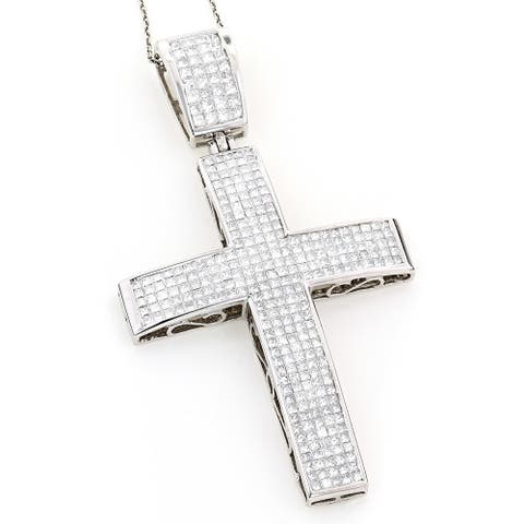 Luxurman 14k White Gold 7 1/2ct TDW Princess-cut Invisible-set Diamond Cross Necklace