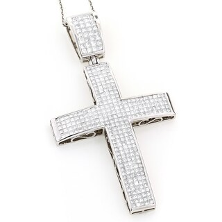Luxurman 14k White Gold 7 1/2ct TDW Princess-cut Invisible-set Diamond Cross Necklace (H-I, SI1-SI2)