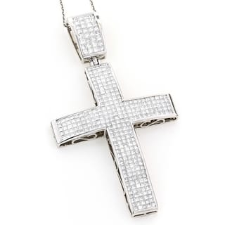 Luxurman 14k White Gold 7 1/2ct TDW Princess-cut Invisible-set Diamond Cross Necklace|https://ak1.ostkcdn.com/images/products/10095555/P17237048.jpg?impolicy=medium
