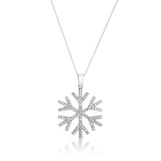 SummerRose, 14kt white gold Diamond Snowflake Pendant 1.00cttw