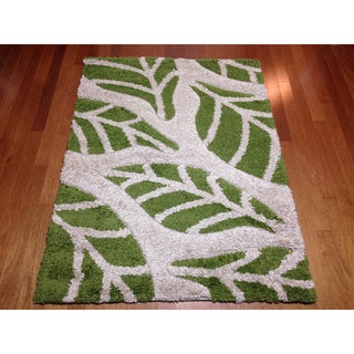 Modern Floral Green Shag Area Rug (5'3 x 7'2)