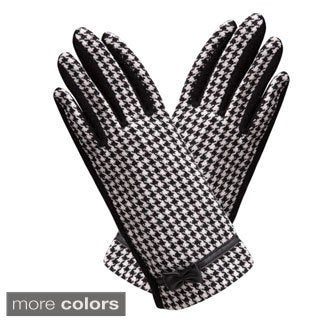 Fashion Houndstooth Bow Gloves