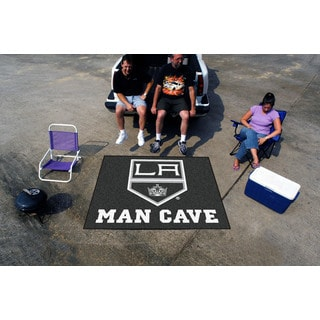 Fanmats Machine-Made Los Angeles Kings Black Nylon Man Cave Tailgater Mat (5' x 6')
