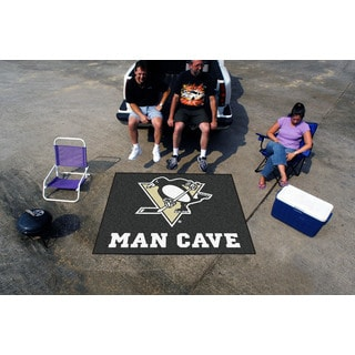 Fanmats Machine-Made Pittsburgh Penguins Black Nylon Man Cave Tailgater Mat (5' x 6')