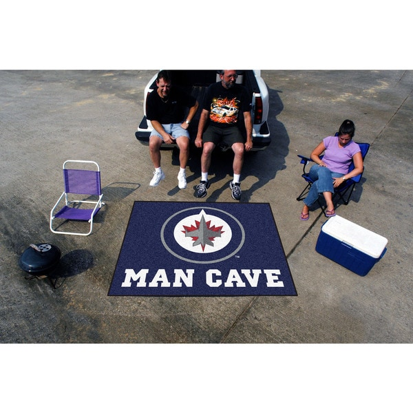 Fanmats Machine-Made Winnipeg Jets Blue Nylon Man Cave Tailgater Mat (5' x 6')