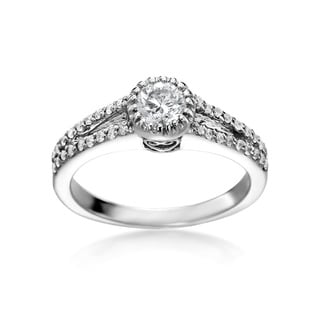 SummerRose 14k White Gold 3/4ct TDW Round Diamond Split Shank Engagement Ring